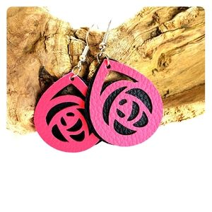 Fuchsia Pink Faux Leather Earrings